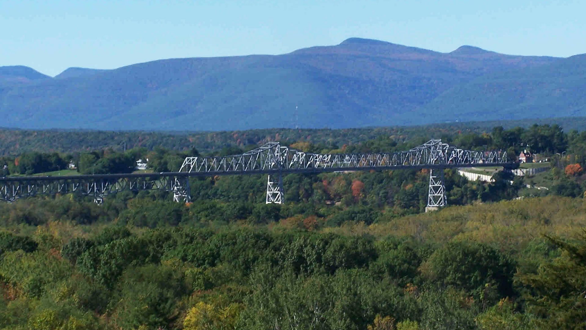 Rip van Winkle Bridge with Catskill mountains in the background.